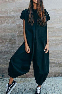 Short Sleeve Loose Jumpsuit