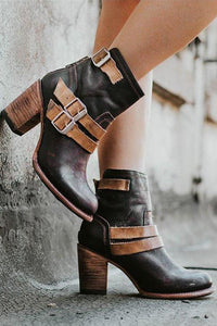 High Heel Belt Buckles Ankle Boots