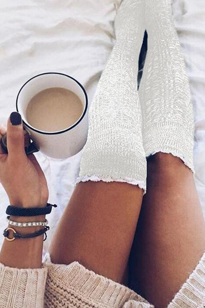 Lace Hem Knee High Sock