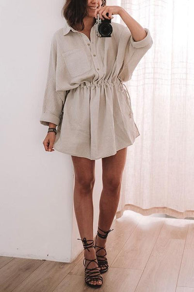 Button Pockets Drawstring Waist Dress