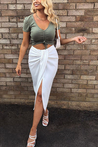 Solid Knot Slit Skirts