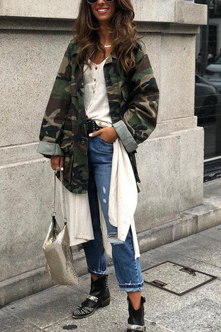 Turndown Collar Single Breasted Camo Coat