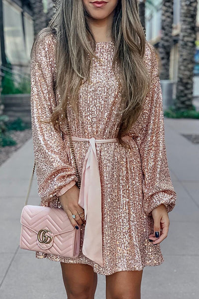 Sequin Belted Long Sleeve Mini Dress