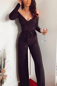 V Neck Long Sleeve Belted Jumpsuit