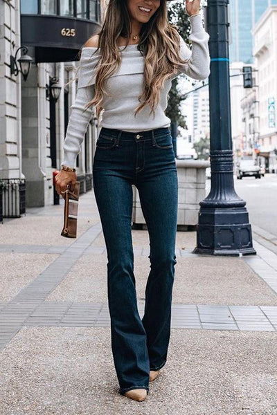 Strapless Long Sleeve Slim T Shirt