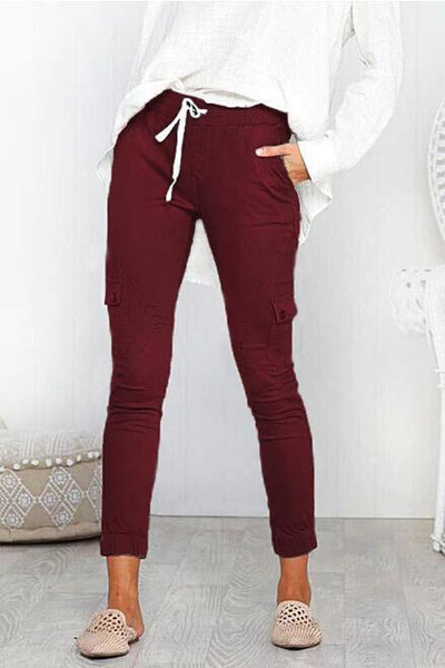 Pocket Drawstring Skinny Pants