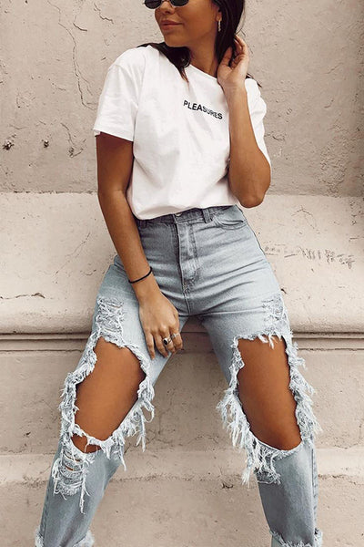 Broken Hole High Waist Jeans