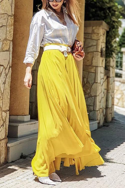 Chiffon High Waist Maxi Skirts