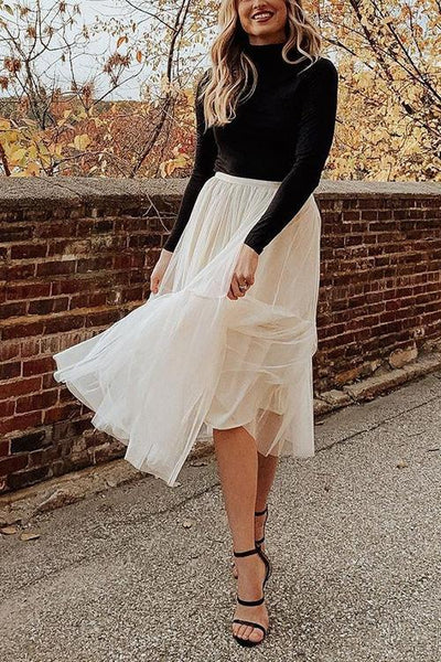 Patchwork Gauze Bubble Skirt
