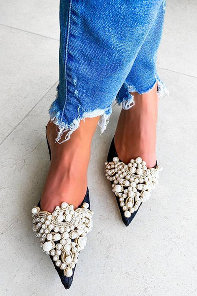 Pearl Lace High Heel Mules