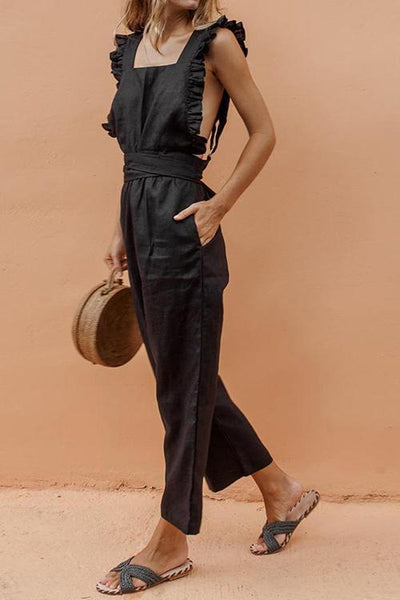 Bow Ruffled Backless Jumpsuit