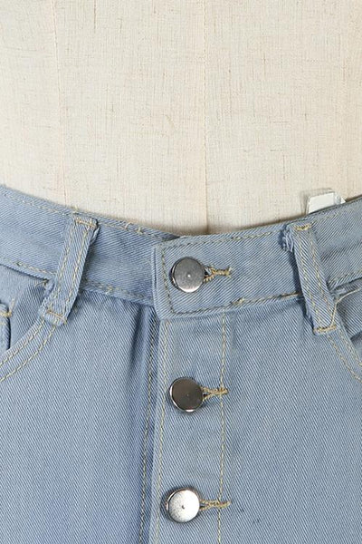 Button Up High Waist Flare Hem Denim Skirt