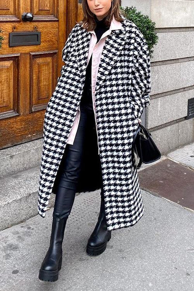 Houndstooth Lapel Woolen Coat
