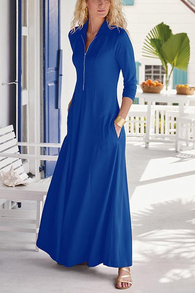 Zipper Pockets Long Sleeve Maxi Dress
