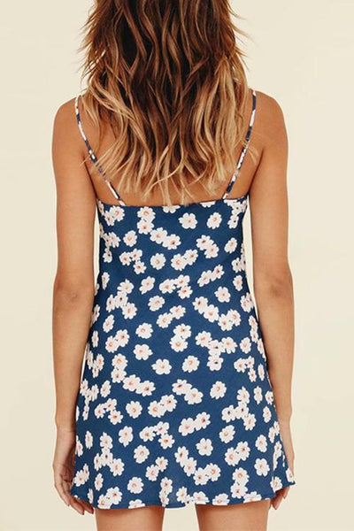 Floral Print Slit Slip Mini Dress