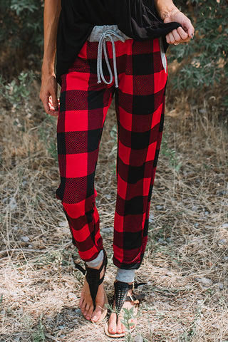 Plaid Drawstring Loose Jogger Pants