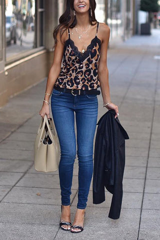 Leopard Lace Sleeveless T Shirt