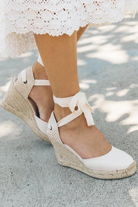 High Heel Platform Lace up Wedge