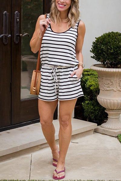 Pockets Drawstring Stripe Romper