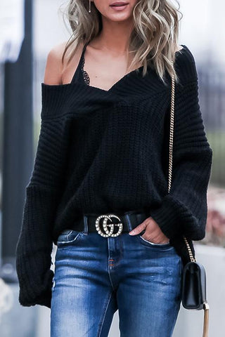 V Neck Loose Black Sweater