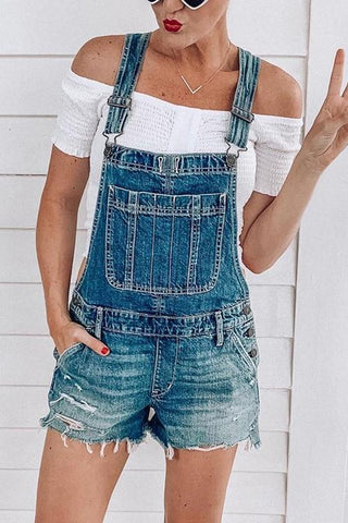 Ripped Shorts Denim Romper