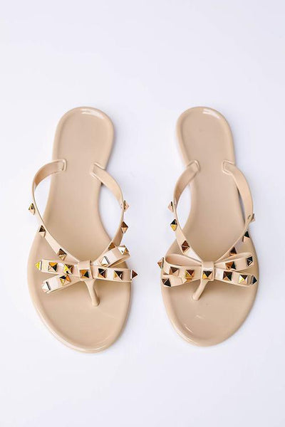 Rivets Bow Flat Slipper