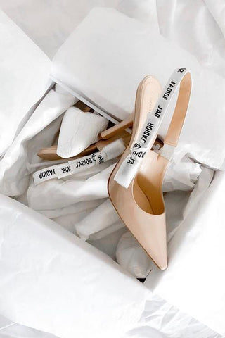 Letter Print High Heel Pumps