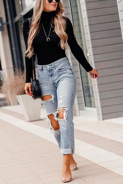 High Collar Knit Long Sleeve T Shirt