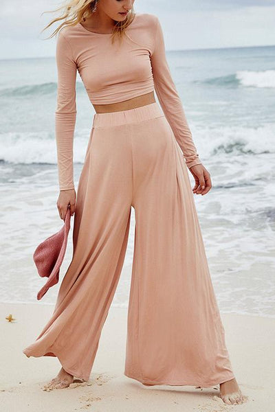 Solid Crop Wide Leg Pants Set