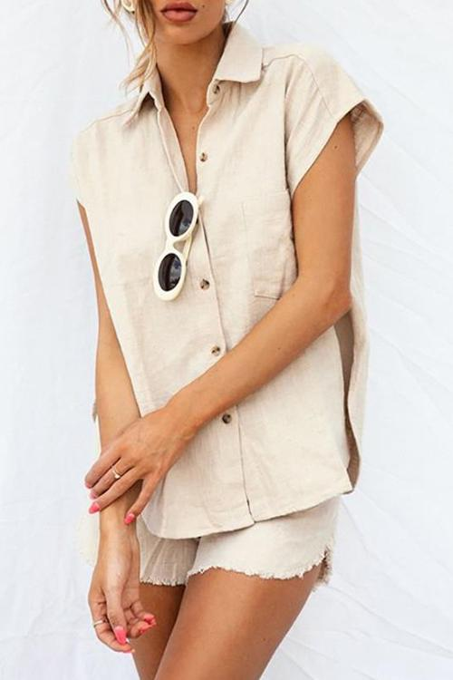 Linen Button Shirt Shorts Set