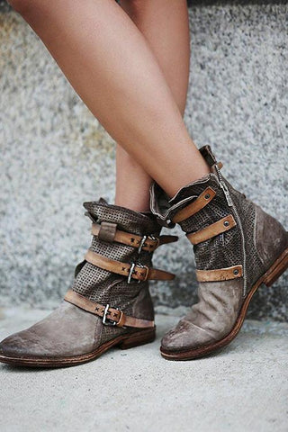 Boho Leather Buckle Ankle Flat Boot