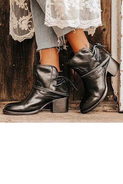 Lace Up Chunky Heels Ankle Boots