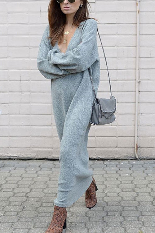 V Neck Knit Long Dress