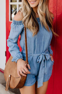 Denim Off Shoulder Tied Waist Romper