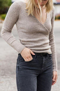 V Neck Side Button Sweater
