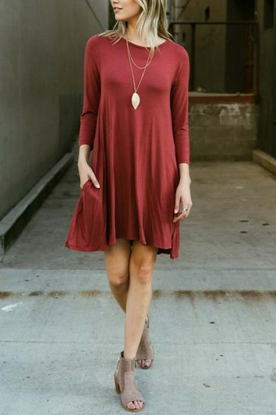 O Neck Long Sleeve MIni Dress