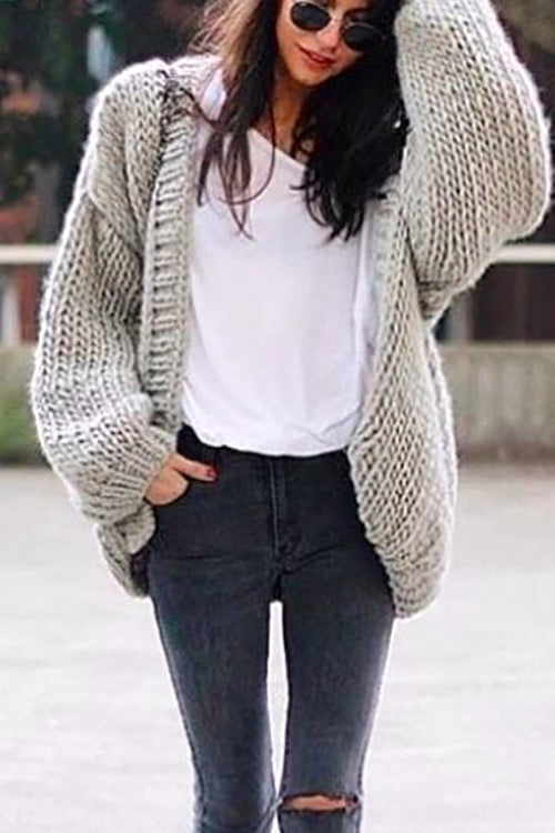 Chunky Knit Batwing Sweater