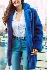 Faux Fur Loose Long Sleeve Coat