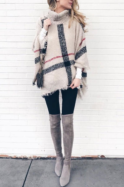 Stripe Tassel Loose High Collar Sweaters