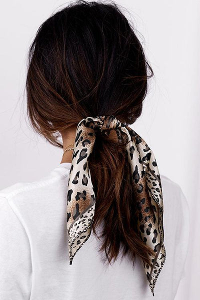 Leopard Head Print Scrunchie