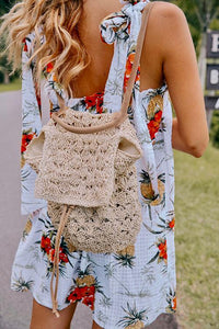 Straw Drawstring Backpack
