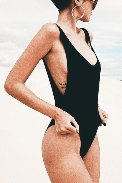 Classic Solid Backless One-piece Swimwear