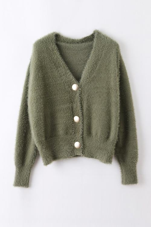 Fuzzy Button V Neck Cardigan