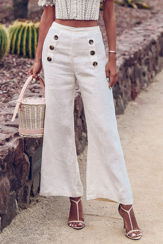 Button High Waist Wide Leg Pants
