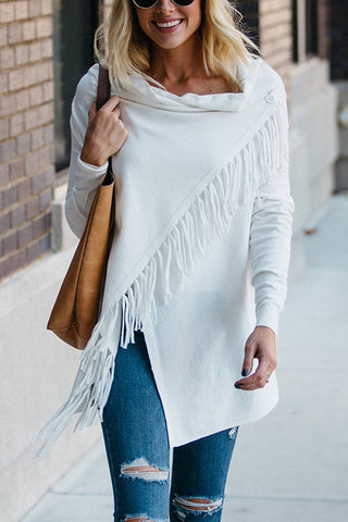 Tassels Asymmetry Cardigan