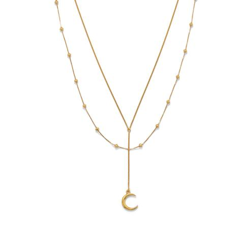 Cresent Moon Necklace Double Strand