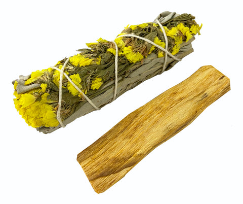 White Floral Sage with Yellow Statice Flowers