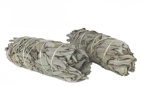"White California Sage Smudge Sticks - Two 4"" inch sticks - Premium Grade - Perfect for banishing negativity!"