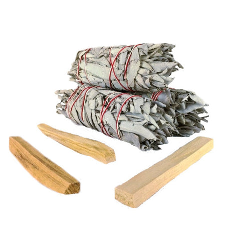 White California Sage Smudge Sticks &  Palo Santo Wood Kit - 3 of each - Perfect for replenishing a smudge kit or sharing with loved ones - premium grade