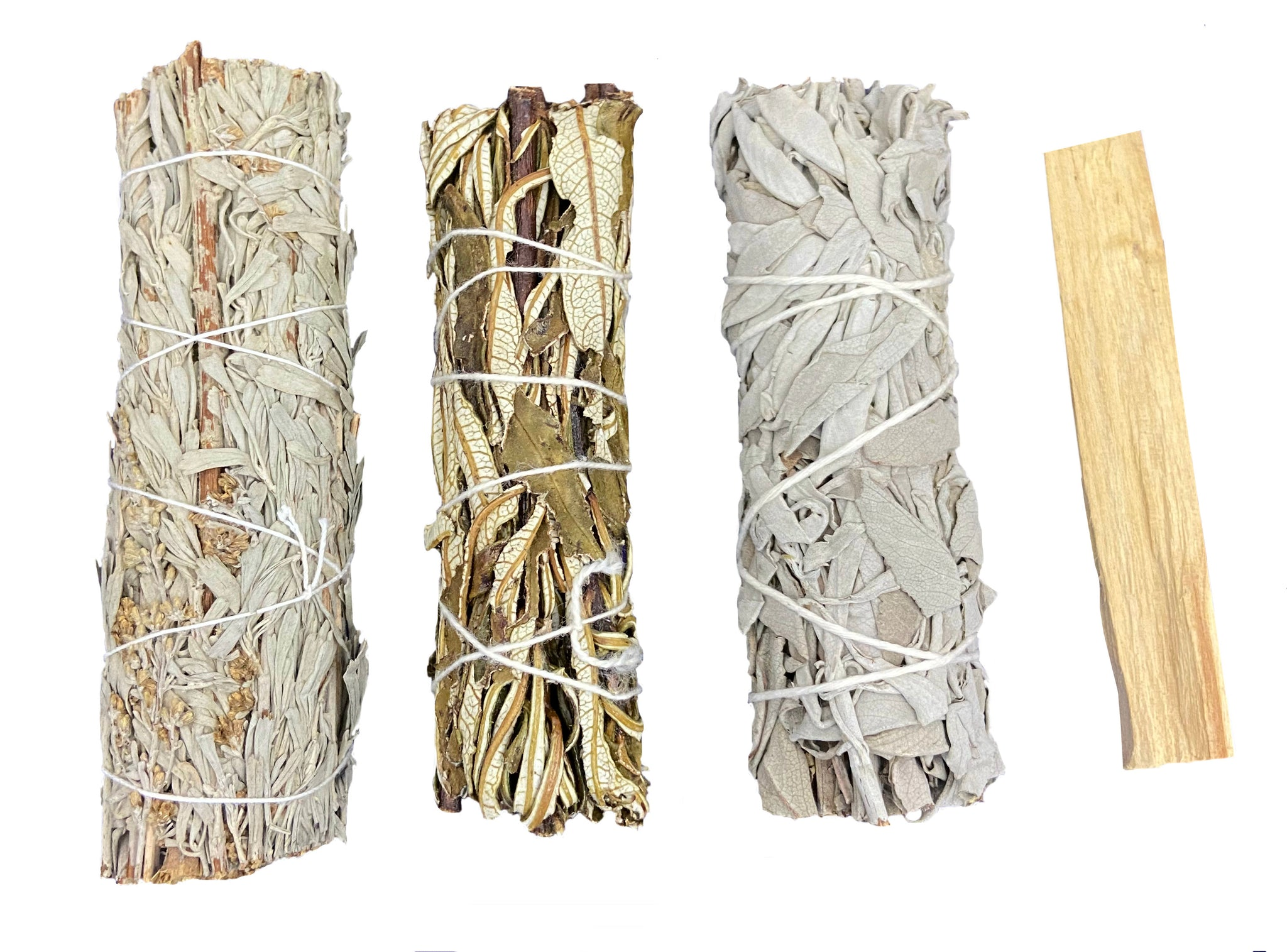 Smudge Kit Sampler - White Sage, Blue Sage, Yerba Santa, & Palo Santo Wood - Each provides its own special properties